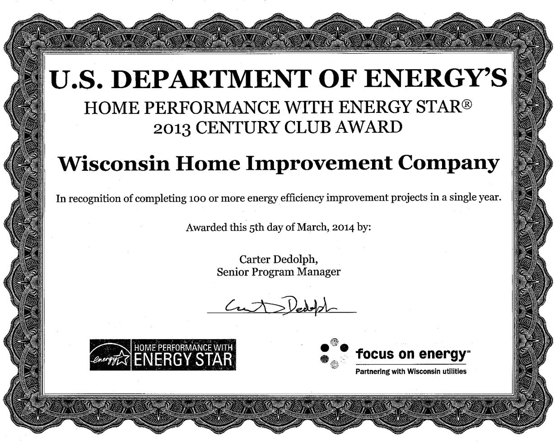 Energy Star Century Club Award 2013