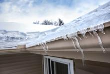 small ice dam forming on roof