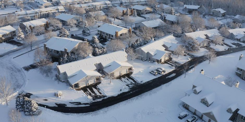 Aerial view of snowy, suburban Wisconsin homes