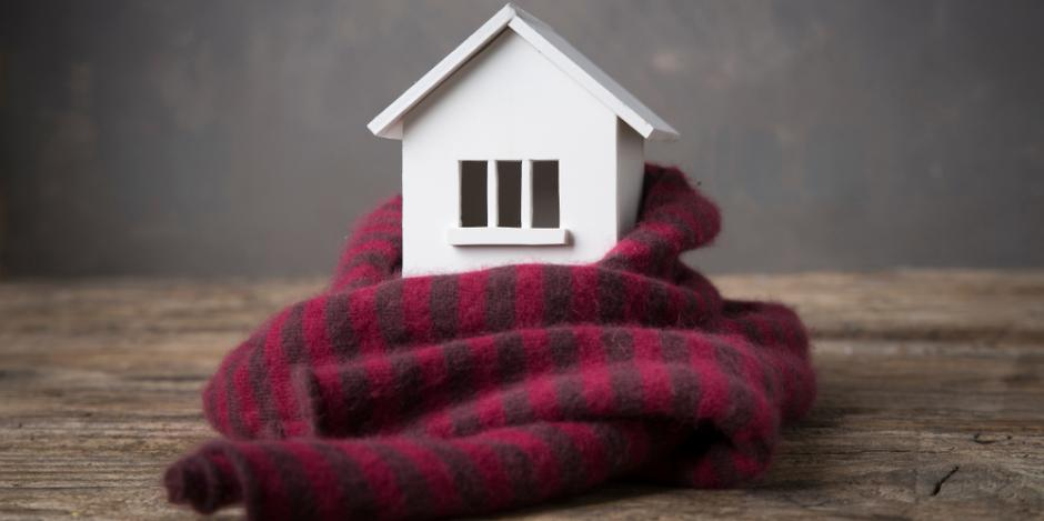 model house with scarf, warm insulated home concept