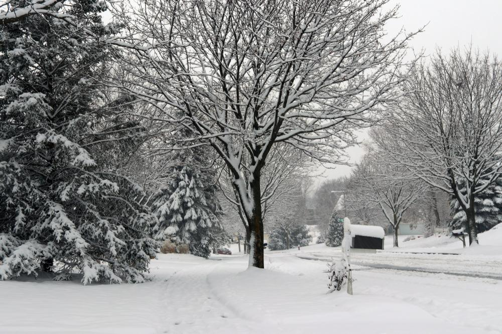 wintery street after snow storm WI