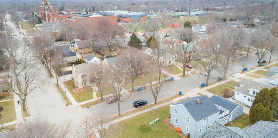 whitefish bay neighborhood aerial view